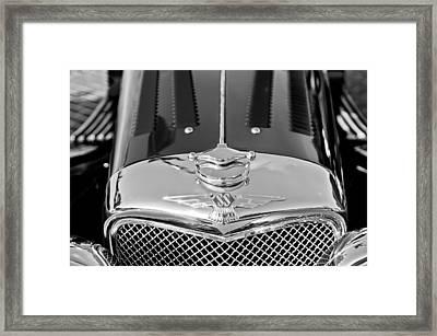 1937 Ss100 3.5-liter Jaguar Roadster Grille Hood Emblem Framed Print by Jill Reger