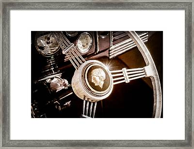 1939 Ford Standard Woody Steering Wheel Framed Print by Jill Reger