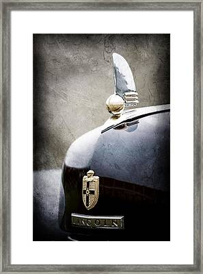 1942 Lincoln Continental Cabriolet Hood Ornament - Emblem Framed Print by Jill Reger