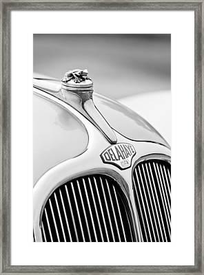 1947 Delahaye 135 Ms Langenthal Coupe Hood Ornament And Emblem Framed Print by Jill Reger