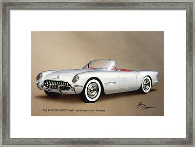 1953 Corvette Classic Vintage Sports Car Automotive Art Framed Print