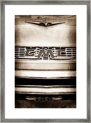 1956 Gmc 100 Deluxe Edition Pickup Truck Emblem Framed Print