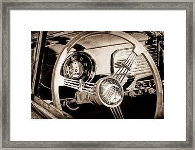 1956 Volkswagen Vw Bug Steering Wheel Framed Print by Jill Reger