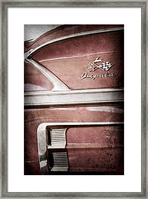 1958 Chevrolet Impala 2 Door Convertible Emblem Framed Print