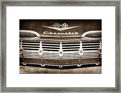 1959 Chevrolet Grille Emblem Framed Print by Jill Reger