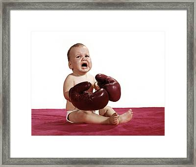 1960s Crying Baby Wearing Boxing Gloves Framed Print
