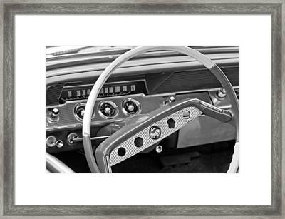 1961 Chevrolet Impala Ss Steering Wheel Emblem Framed Print by Jill Reger
