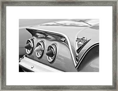 1961 Chevrolet Ss Impala Tail Lights Framed Print
