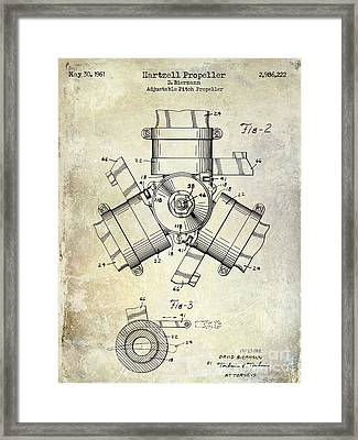 1961 Propeller Patent Drawing Framed Print by Jon Neidert