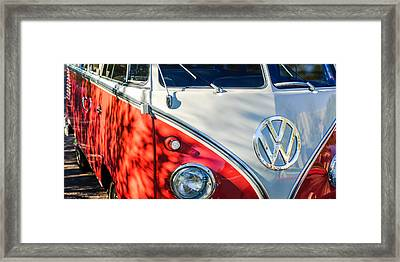 96 Inch Panoramic - 1961 Volkswagen Vw 23-window Deluxe Station Wagon Emblem Framed Print