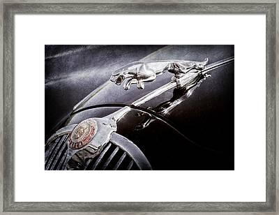 1964 Jaguar Mk2 Saloon Hood Ornament And Emblem Framed Print by Jill Reger