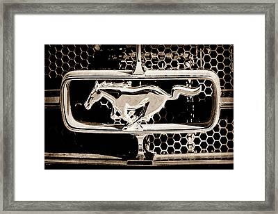 1965 Ford Shelby Mustang Grille Emblem Framed Print by Jill Reger