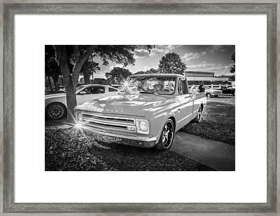 1967 Chevy Silverado Pick Up Truck  Bw Framed Print by Rich Franco