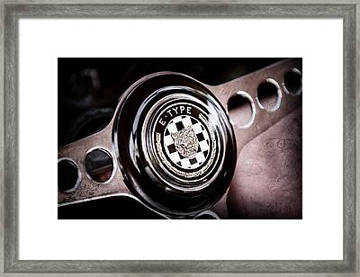1967 Jaguar E-type Series I 4.2 Roadster Steering Wheel Emblem Framed Print by Jill Reger