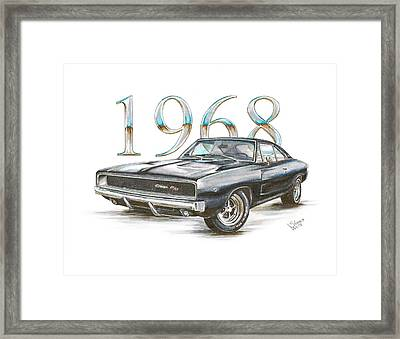 1968 Dodge Charger R/t Framed Print by Shannon Watts