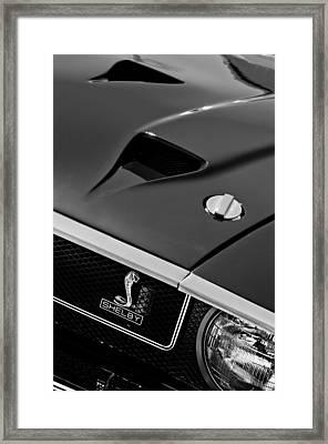 1969 Shelby Gt500 Convertible 428 Cobra Jet Hood - Grille Emblem Framed Print by Jill Reger