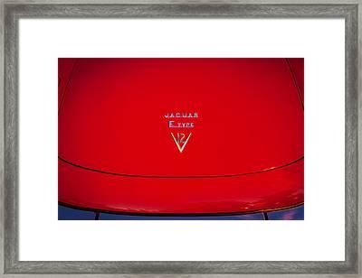 1975 Jaguar Xke V12 Hood Ornament Painted Bw  Framed Print by Rich Franco