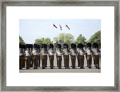 1st Battalion Welsh Guards On The Drill Framed Print by Andrew Chittock