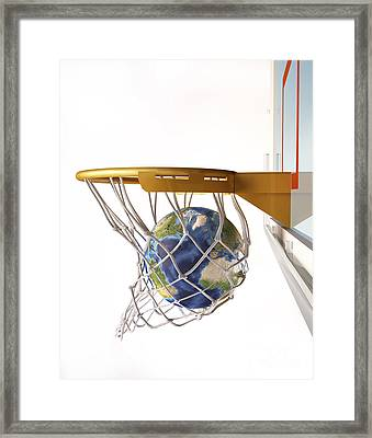3d Rendering Of Planet Earth Falling Framed Print by Leonello Calvetti