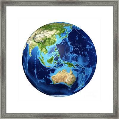3d Rendering Of Planet Earth Framed Print by Leonello Calvetti