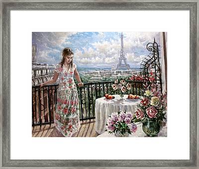 A Balcony In Paris Framed Print by Dmitri Kulikov