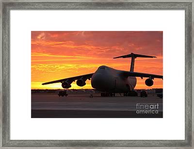 A C-5 Galaxy Sits On The Flightline Framed Print