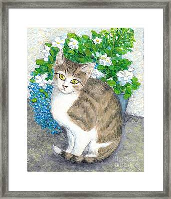 Framed Print featuring the painting A Cat And Flowers by Jingfen Hwu