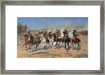 A Dash For The Timber Framed Print by Frederic Remington