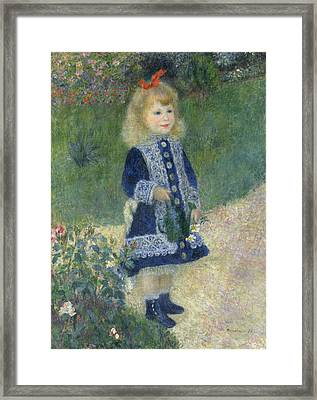 A Girl With A Watering Can Framed Print by Mountain Dreams