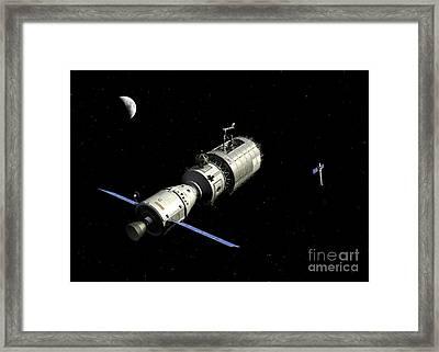 A Manned Orbital Maintenance Platform Framed Print