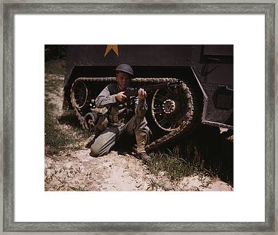 A Soldier Holds And Sights His Garand Framed Print