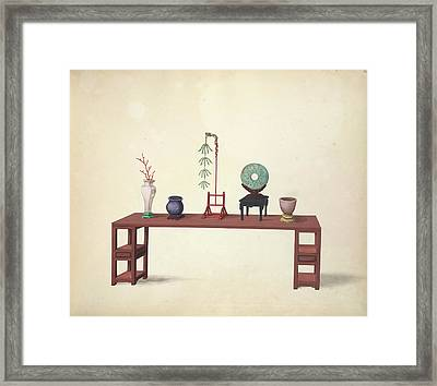 A Table And Ornaments Framed Print by British Library