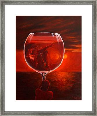 A Toast To Love And Wine Framed Print