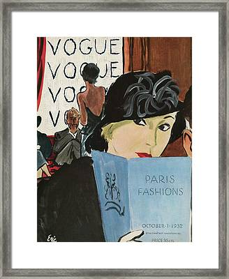 Vintage Vogue Cover Of Paris Fashions Framed Print