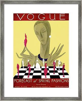 A Vintage Vogue Magazine Cover Of A Woman Framed Print by William Bolin
