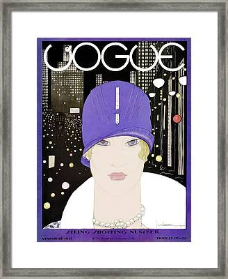 A Vogue Magazine Cover Of A Woman Framed Print by Georges Lepape