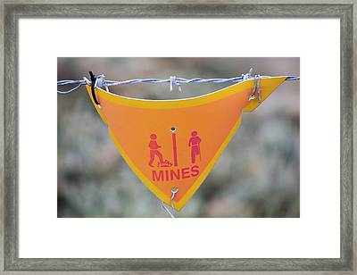 A Warning Sign About Mines Framed Print by Ashley Cooper