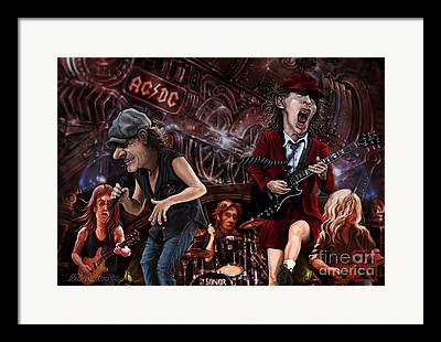 Rock N Roll Drawings Framed Prints