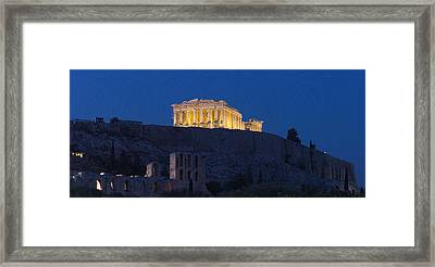 Acropolis Of Athens At Dusk, Athens Framed Print