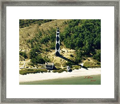 Aerial Of Cape Lookout Lighthouse Framed Print