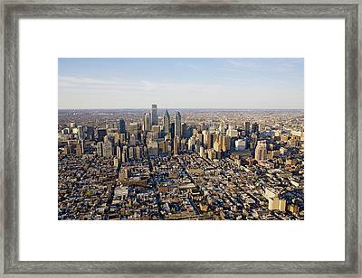 Aerial Sunset Views Of Philiadelphia Framed Print