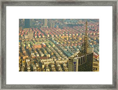 Aerial View Of New Pudong District Framed Print