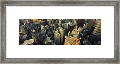 Aerial View Of Skyscrapers In A City Framed Print