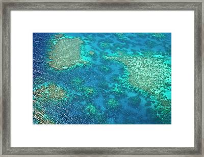 Aerial View Of The Great Barrier Reef Framed Print by Miva Stock