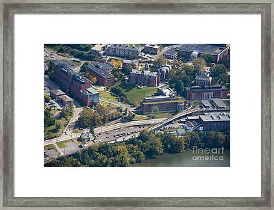 aerials of WVVU campus Framed Print
