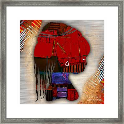 African Statue Collection Framed Print