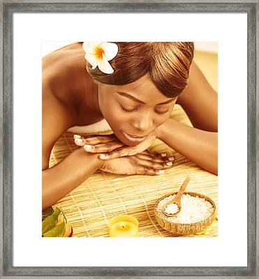 African Woman In Spa Salon Framed Print