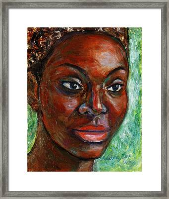 Framed Print featuring the painting African Woman by Xueling Zou