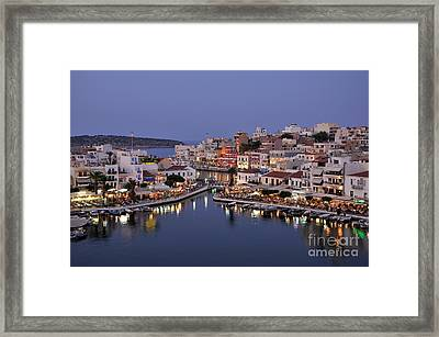 Agios Nikolaos City During Dusk Time Framed Print