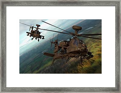 2 Ah64 Apache Framed Print by Ken Brannen